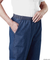 Silvert's 130300106 Arthritis Elastic Waist Pull On Jean Pants For Women With 2 Pockets , Size 14, BLUE DENIM