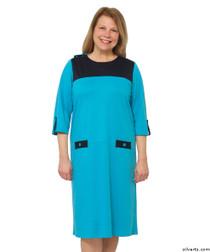 Silvert's 210500102 Womens Warm Nursing Home Wheelchair Adaptive Clothing Dress, Size Medium, BLUE/NAVY