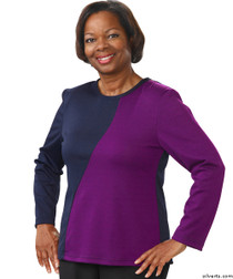 Silvert's 231900103 Adaptive Tops For Women , Size Large, NAVY/PURPLE