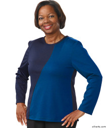 Silvert's 231900304 Adaptive Tops For Women , Size X-Large, BLUE/NAVY