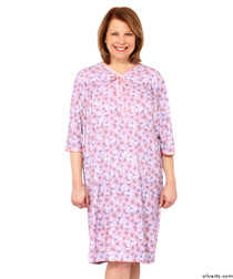 Silvert's 260012903 Womens Hospital Gowns Soft Cotton Knit Adaptive Pattern  , Size 3X-Large, LILAC FLOWER