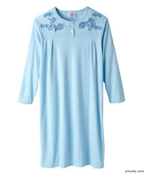 Silvert's 262400302 Womens Designer Hospital Patient Gowns, Open Back Nightgowns , Size Medium, CRYSTAL BLUE