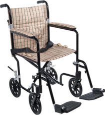 """Drive FW17DB 17"""" Deluxe Fly-Weight Aluminum Transport Chair, Black Frame and Tan Plaid Upholstery (Drive FW17DB)"""