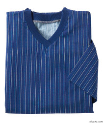 Silvert's 501201302 Mens Adaptive Cotton Hospital Patient Nightgowns , Size Small, NAVY PINSTRIPE