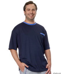 Silvert's 505400301 Adaptive Tshirt Top For Men , Size Small, NAVY