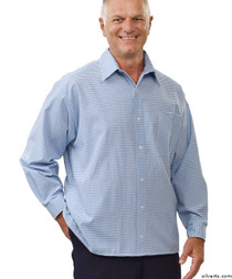 Silvert's 507500401 Men's Adaptive Sport Shirt , Size X-Small, BLUE/CHARCOAL