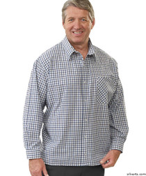 Silvert's 507500102 Men's Adaptive Sport Shirt , Size Small, NAVY/CHARCOAL
