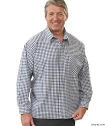 Silvert's 507500103 Men's Adaptive Sport Shirt , Size Medium, NAVY/CHARCOAL