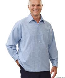 Silvert's 507500403 Men's Adaptive Sport Shirt , Size Medium, BLUE/CHARCOAL