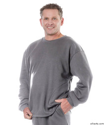 Silvert's 510300504 Mens Adaptive Fleece Sweatshirt Top , Size Large, GREY