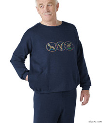 Silvert's 510300104 Mens Adaptive Fleece Sweatshirt Top , Size Large, NAVY