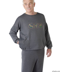 Silvert's 510300304 Mens Adaptive Fleece Sweatshirt Top , Size Large, GREY MIX