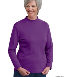 Silvert's 130600304 Womens Long Sleeve Mock Turtleneck Shirt, Size Large, BORDEAU