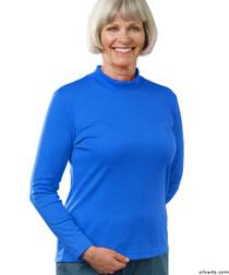 Silvert's 130600205 Womens Long Sleeve Mock Turtleneck Shirt, Size X-Large, COBALT