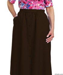 Silvert's 131300204 Womens Regular Elastic Waist Skirt With Pockets , Size 10, CHOCOLATE