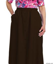 Silvert's 131300207 Womens Regular Elastic Waist Skirt With Pockets , Size 16, CHOCOLATE