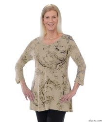Silvert's 131400102 Womens Long Tunic Top, Size Medium, SAND