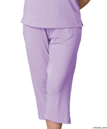 Silvert's 131600302 Womens Arthritis Elastic Waist Pull On Capris Pants, Size Small, LILAC