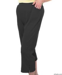 Silvert's 131600202 Womens Arthritis Elastic Waist Pull On Capris Pants, Size Small, BLACK