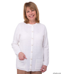 Silvert's 132600103 Womens Cardigan Sweater With Pockets , Size Medium, WHITE