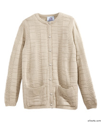 Silvert's 132600403 Womens Cardigan Sweater With Pockets , Size Medium, NEW BEIGE