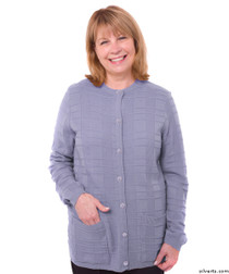 Silvert's 132600304 Womens Cardigan Sweater With Pockets , Size Large, PURPLE ASH