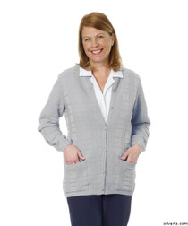 Silvert's 132600204 Womens Cardigan Sweater With Pockets , Size Large, SILVER GREY