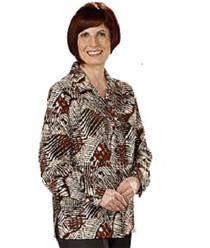 Silvert's 133000301 Mature Womens Long Sleeve Petite Blouses , Size 6P, COGNAC
