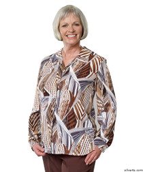 Silvert's 133000205 Mature Womens Long Sleeve Petite Blouses , Size 14P, TAUPE