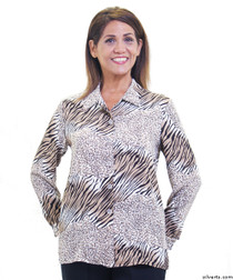 Silvert's 133000105 Mature Womens Long Sleeve Petite Blouses , Size 14P, CHOCOLATE