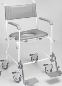AQUA COMMODE - ATTENDENT PROPELLED STEEL (WHITE) (6632)