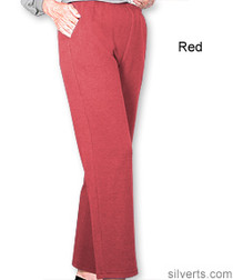 Silvert's 141200104 Regular Fleece Tracksuit Pants For Women , Size Large, RED