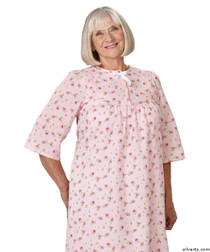 Silvert's 161300402 Womens Regular Short Cotton Sleepwear Nightgown , Size Small, PINK PRINT