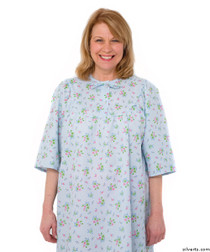 Silvert's 161300303 Womens Regular Short Cotton Sleepwear Nightgown , Size Medium, BLUE