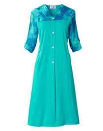 Silvert's 201000102 Adaptive Warm Open Back Wheelchair Dress , Size Medium, TEAL (Silvert's 201000102)