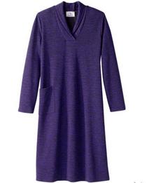 Silvert's 201000203 Adaptive Warm Open Back Wheelchair Dress , Size Large, PURPLE (Silvert's 201000203)
