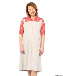 Silvert's 211500203 Comfortable Adaptive Open Back Dress For Women , Size Medium, RED