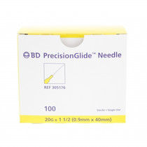 """BD 305176 NEEDLE STERILE PRECISIONGLIDE CONVENTIONAL Regular Bevel 20G x 33mm (1.5"""") 100/bx (Case of 10)"""