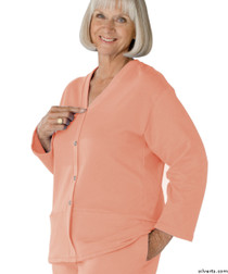 Silvert's 232500502 Womens Open Back Adaptive Fleece Cardigan With Pockets, Size Small, PINK