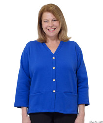 Silvert's 232500302 Womens Open Back Adaptive Fleece Cardigan With Pockets, Size Small, ROYAL