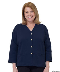 Silvert's 232500202 Womens Open Back Adaptive Fleece Cardigan With Pockets, Size Small, NAVY