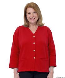 Silvert's 232500103 Womens Open Back Adaptive Fleece Cardigan With Pockets, Size Medium, RED