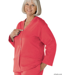 Silvert's 232500405 Womens Open Back Adaptive Fleece Cardigan With Pockets, Size X-Large, DUSTY ROSE