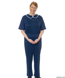 Silvert's 233300602 Womens Adaptive Alzheimers Clothing Anti Strip Suit Jumpsuit , Size Small, NAVY