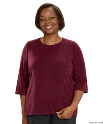Silvert's 234600301 Adaptive Sweater Top For Women , Size Small, WINE