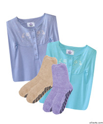 Silvert's 263600103 Womens 4 Piece Gift Pack 2 Hospital Non Skid Socks & 2 Pretty Cotton Hospital Gowns, Size Large, GIFT PACK