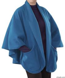 Silvert's 302430901 Womens Stylish Cozy Two Pocket Fleece Cape, Size ONE, STEEL BLUE