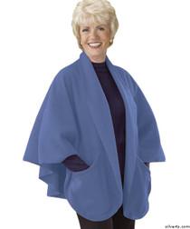 Silvert's 302431301 Womens Stylish Cozy Two Pocket Fleece Cape, Size ONE, BABY BLUE