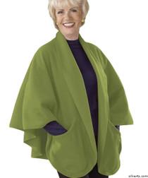 Silvert's 302430601 Womens Stylish Cozy Two Pocket Fleece Cape, Size ONE, KIWI