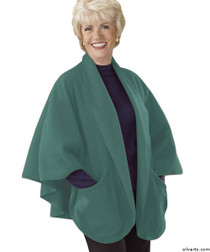 Silvert's 302430401 Womens Stylish Cozy Two Pocket Fleece Cape, Size ONE, TURQUOISE